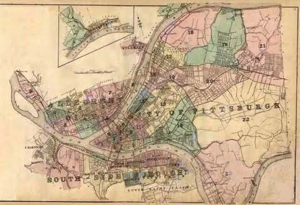 Map of Allegheny City, home of actor William Powell and site of a showing of Carole Lombard's My Man Godfrey.